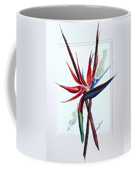 Floral Tropical Caribbean Flower Coffee Mug featuring the painting Bird Of Paradise Lily by Karin Dawn Kelshall- Best