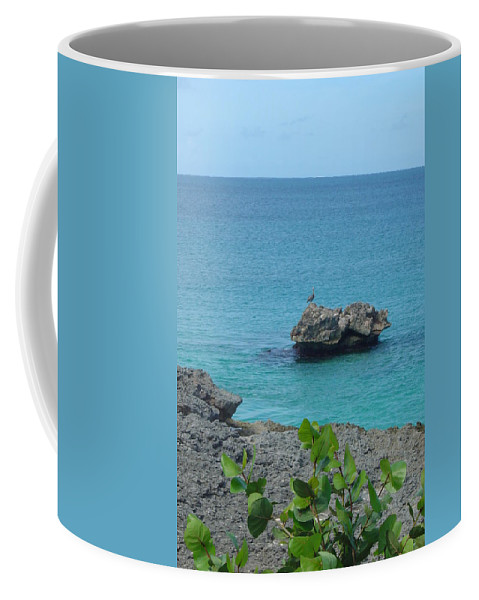 Bird Coffee Mug featuring the photograph Bird On A Rock by Patty Vicknair