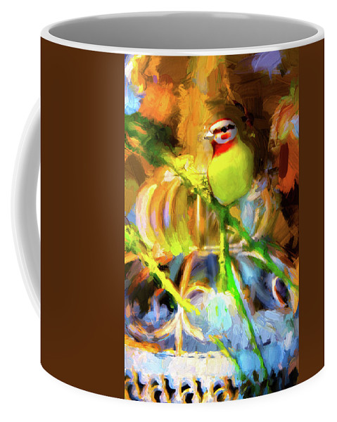Cage Coffee Mug featuring the photograph Bird On A Wire by Carlos Diaz