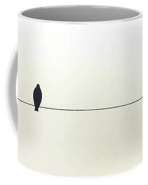 Art Coffee Mug featuring the painting Bird On A Wire by Jack Diamond
