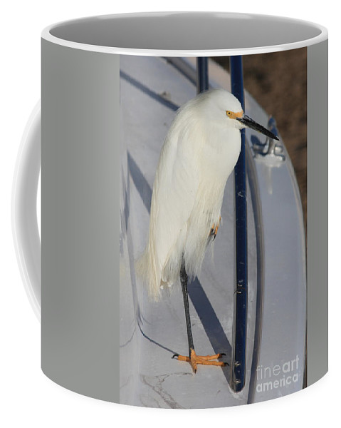 Coffee Mug featuring the greeting card Bird On Boat by Carol Groenen