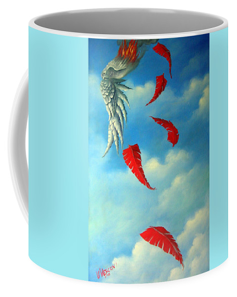 Surreal Coffee Mug featuring the painting Bird On Fire by Valerie Vescovi