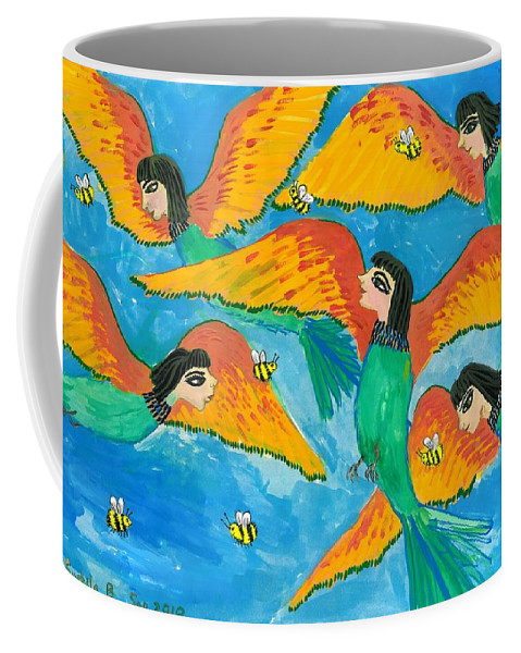 Sue Burgess Coffee Mug featuring the painting Bird People Little Green Bee Eaters Of Upper Egypt by Sushila Burgess