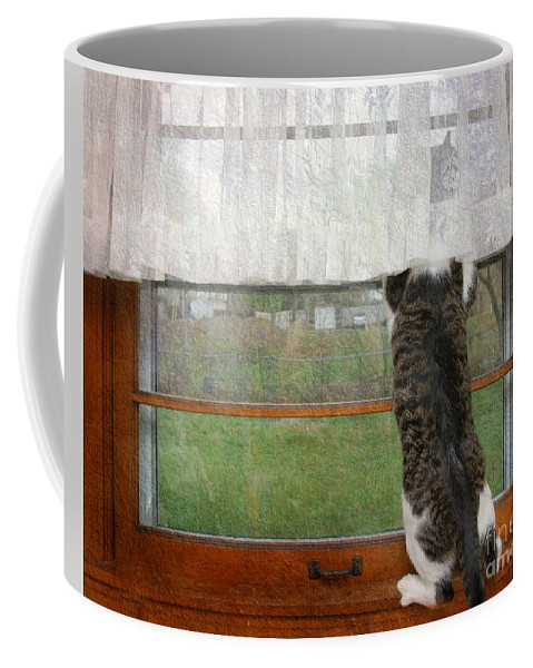 Andee Design Cat Coffee Mug featuring the photograph Bird Watching Kitty Cat by Andee Design