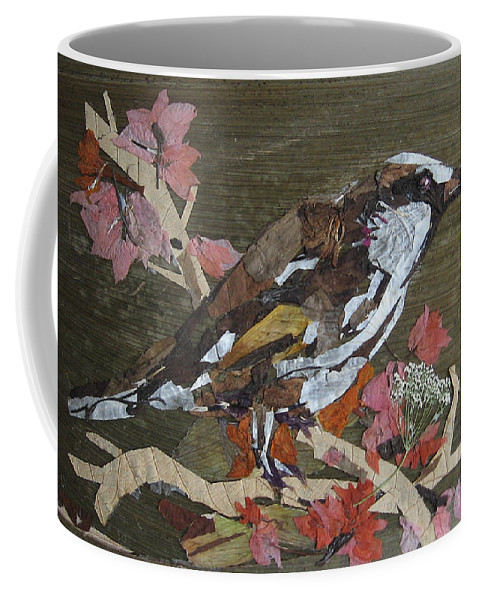 Bird Coffee Mug featuring the mixed media Bird White Eye by Basant Soni