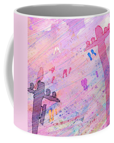 Abstract Coffee Mug featuring the digital art Bird Words by Rachel Christine Nowicki