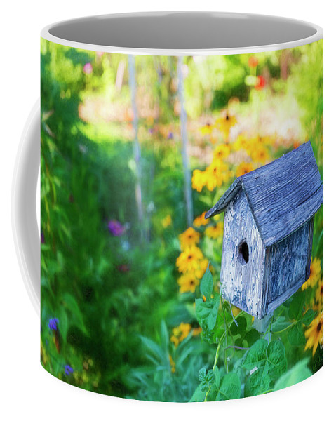 Birdhouse Coffee Mug featuring the photograph Birdhouse And Flowers by David Arment