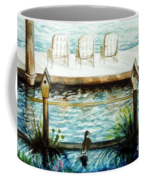 Birdhouse Coffee Mug featuring the painting Birdhouse Haven by Elizabeth Robinette Tyndall
