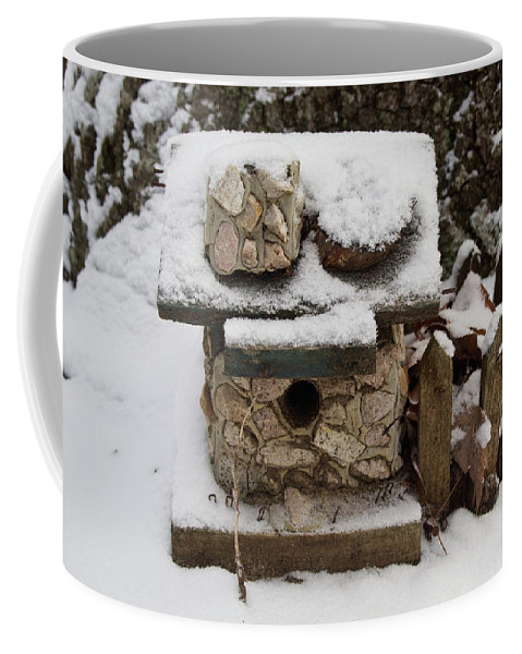 Birdhouse Coffee Mug featuring the photograph Birdhouse In The Snow by Douglas Barnett