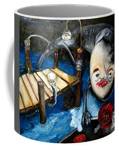 Original Coffee Mug featuring the painting Birdie Kiss by Jacabo Navarro
