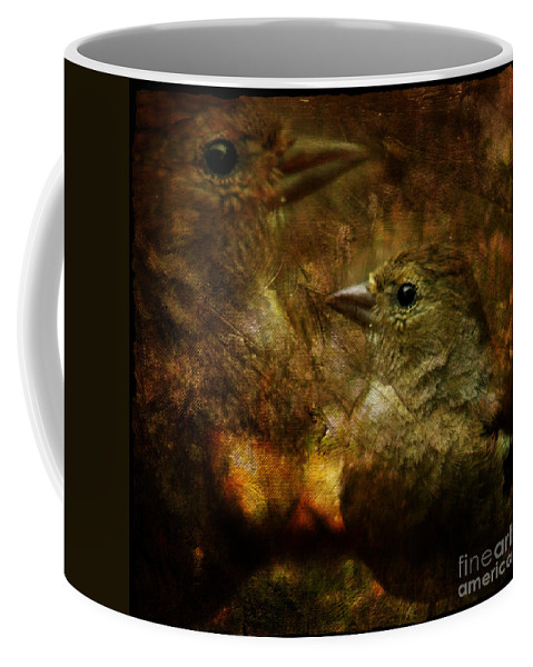Sparrow Coffee Mug featuring the photograph Birds by Angel Ciesniarska