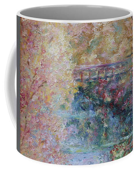 Fall Colors Coffee Mug featuring the painting Birds Boaters And Bridges Of Barton Springs - Autumn Colors Pedestrian Bridge by Felipe Adan Lerma
