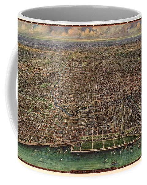 Map Coffee Mug featuring the drawing Birds Eye View Of Chicago 1916 by Mountain Dreams