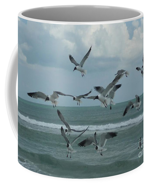 Birds Coffee Mug featuring the photograph Birds In Flight by Barb Montanye Meseroll