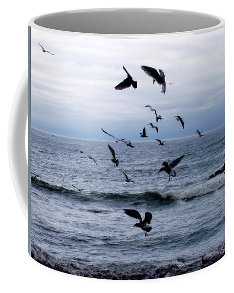 Seascape Coffee Mug featuring the photograph Birds In Flight by Deborah Crew-Johnson