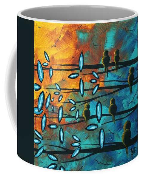 Art Coffee Mug featuring the painting Birds Of Summer By Madart by Megan Duncanson