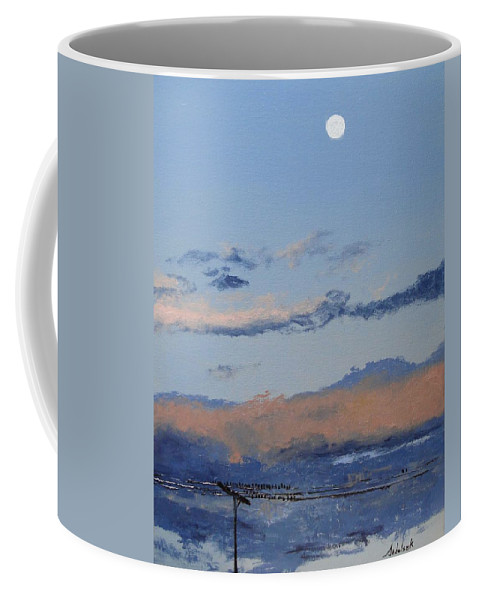Landscape Coffee Mug featuring the painting Birds On A Wire by Barbara Andolsek