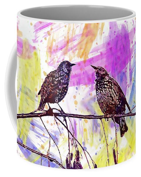Birds Coffee Mug featuring the digital art Birds Stare Nature Songbird by PixBreak Art