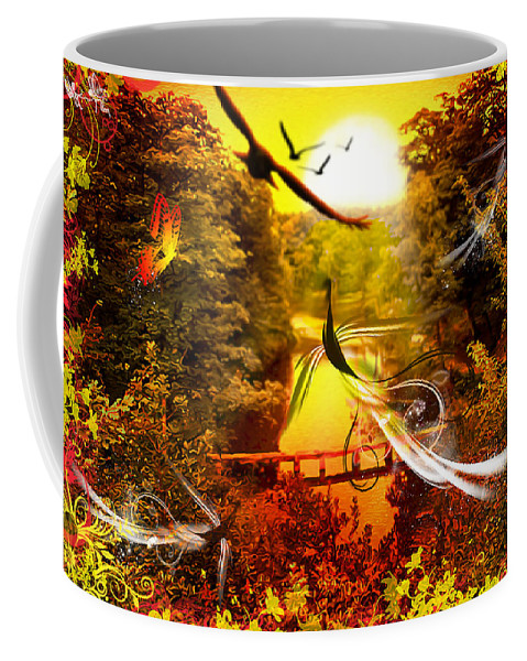 Abstract Coffee Mug featuring the digital art Birds World by Svetlana Sewell