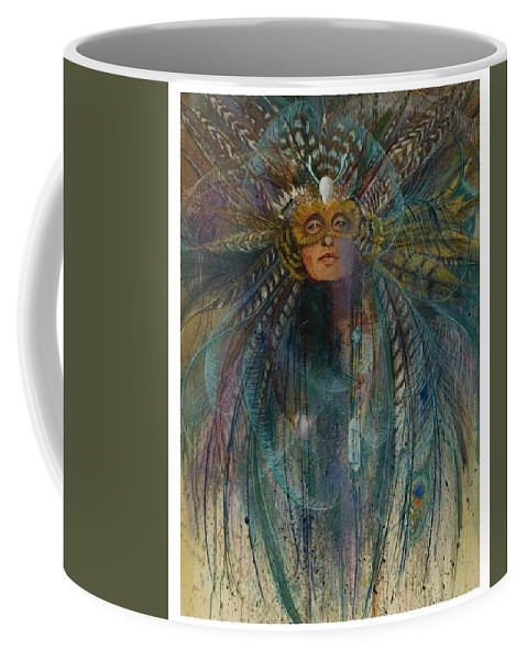 Magical Bird Woman Shamaness Who Creates Magic With Herbs And Crystals  Coffee Mug featuring the pastel Birdtribe Magic by Pamela Mccabe