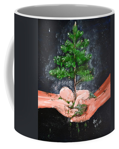 Birth Coffee Mug featuring the painting Birth Of A Dream by Katerina Naumenko