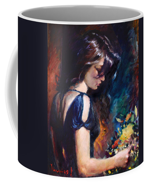 Portrait Coffee Mug featuring the painting Birthday Girl by Ylli Haruni