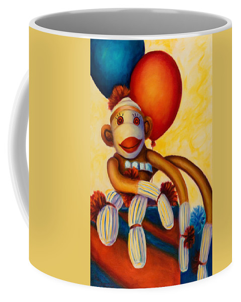 Sock Monkey Brown Coffee Mug featuring the painting Birthday Made Of Sockies by Shannon Grissom