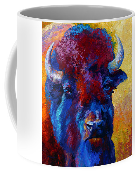 Wildlife Coffee Mug featuring the painting Bison Boss by Marion Rose