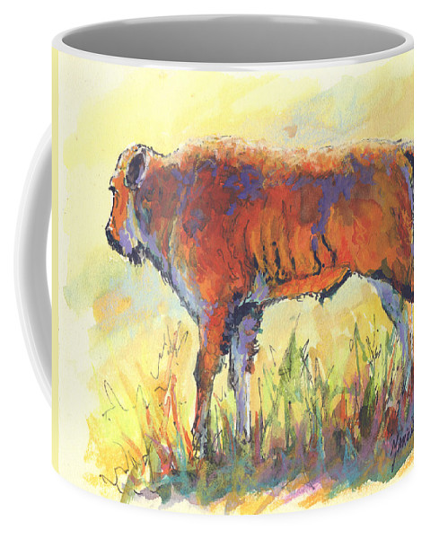 Bison Coffee Mug featuring the painting Bison Calf by Marion Rose