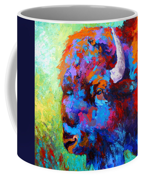 Wildlife Coffee Mug featuring the painting Bison Head II by Marion Rose