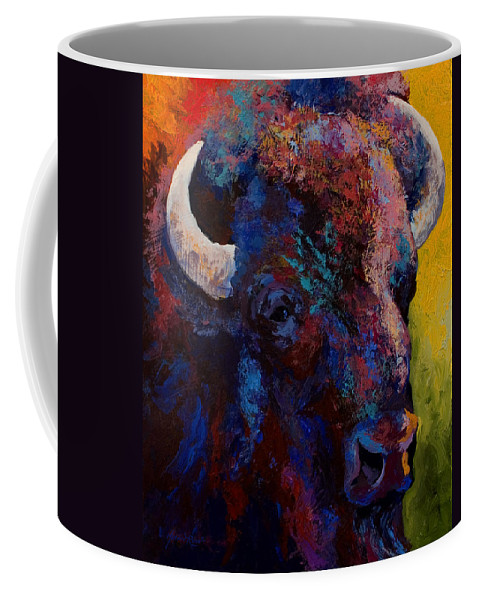 Bison Coffee Mug featuring the painting Bison Head Study by Marion Rose