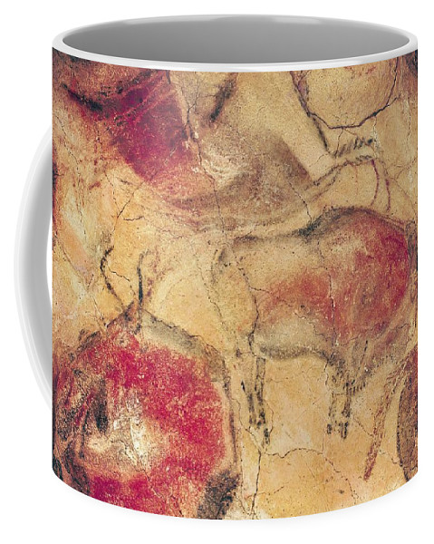 Bisons Coffee Mug featuring the painting Bisons From The Caves At Altamira by Prehistoric