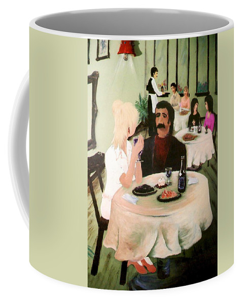 Mural Coffee Mug featuring the painting Bistro Mural Detail 1 by Rachel Christine Nowicki