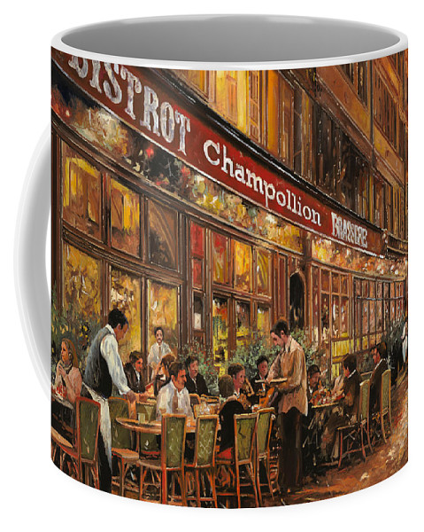 Street Scene Coffee Mug featuring the painting Bistrot Champollion by Guido Borelli