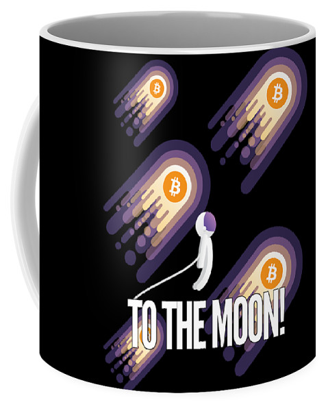 Bitcoin Coffee Mug featuring the drawing Bitcoin To The Moon Astronaut Cryptocurrency Humor Funny Space Crypto by Cameron Fulton