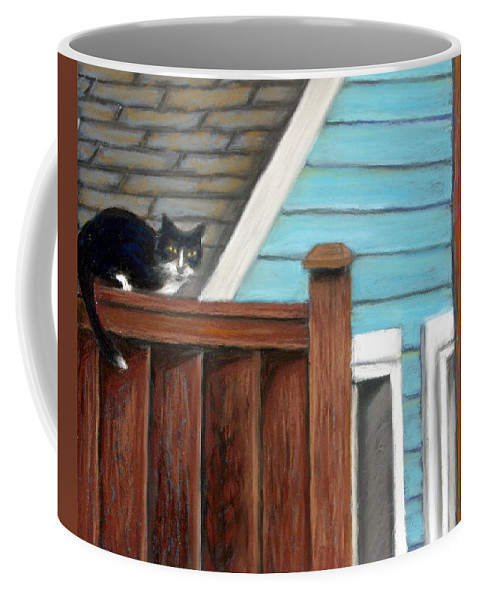 Cat Coffee Mug featuring the painting Black Alley Cat by Minaz Jantz