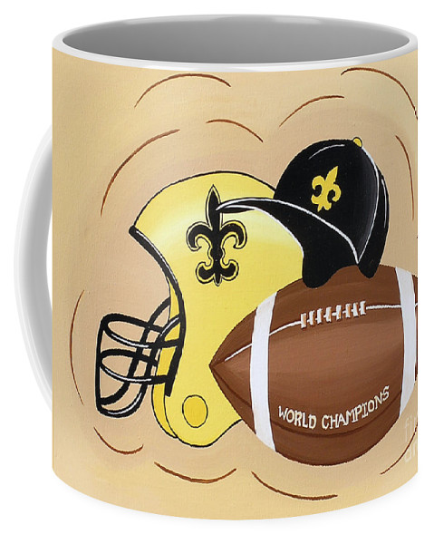 Football Coffee Mug featuring the painting Black And Gold Champs by Valerie Carpenter