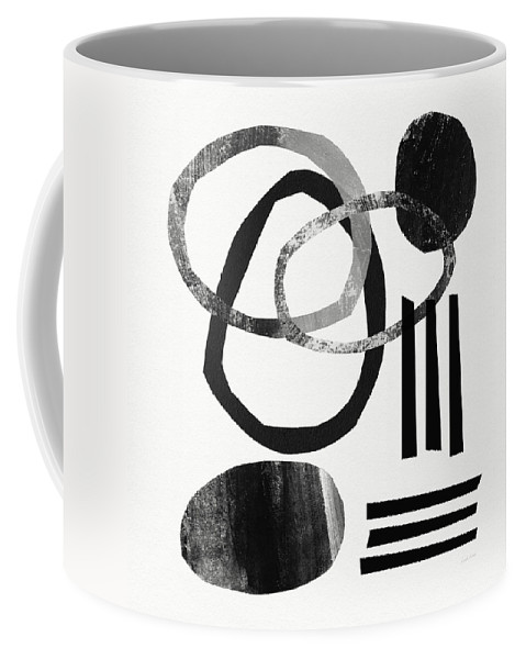 Black And White Abstract Coffee Mug featuring the mixed media Black and White- Abstract Art by Linda Woods