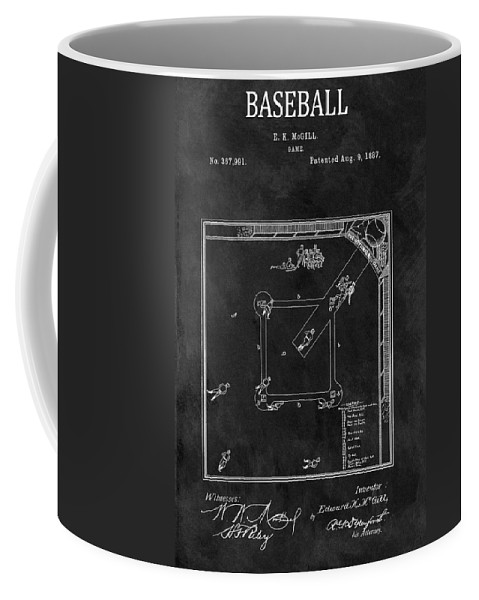 The Invention Of Baseball Coffee Mug featuring the drawing Black And White Baseball Game Patent by Dan Sproul