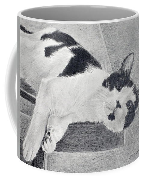 Cat Portrait Coffee Mug featuring the drawing Black And White Cat Lounging by Phyllis Tarlow