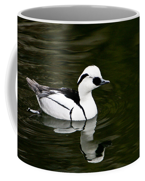 Duck Coffee Mug featuring the photograph Black and White Duck by Douglas Barnett