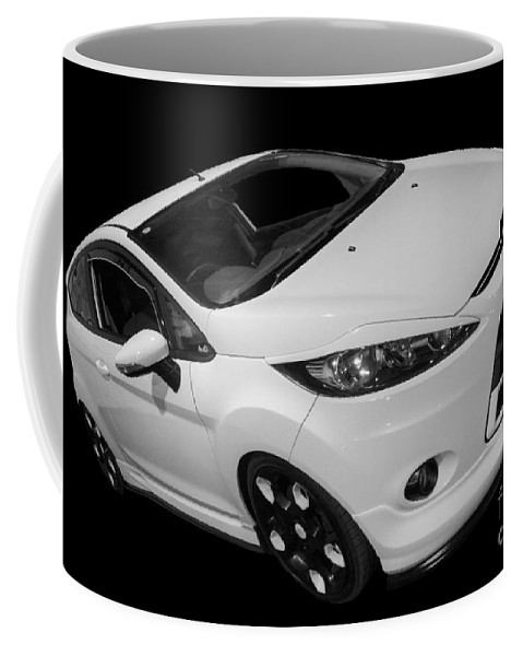 Black Coffee Mug featuring the photograph Black And White Ford Fiesta by Vicki Spindler