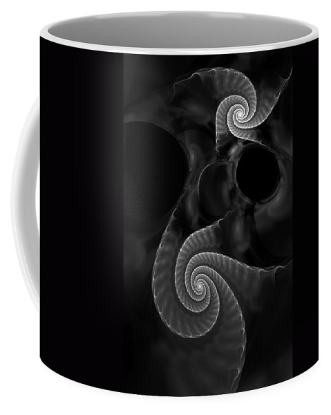 Fractal Coffee Mug featuring the digital art Black and White Fractal 080810 by David Lane