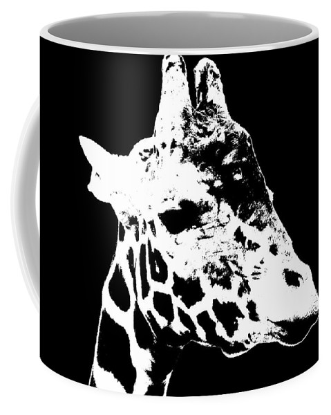 Black And White Coffee Mug featuring the photograph Black And White Giraffe by Sergey Lukashin