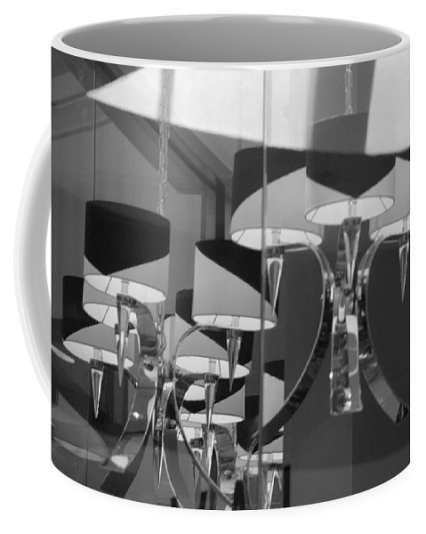 Chandeliers Coffee Mug featuring the photograph Black And White Lights by Rob Hans