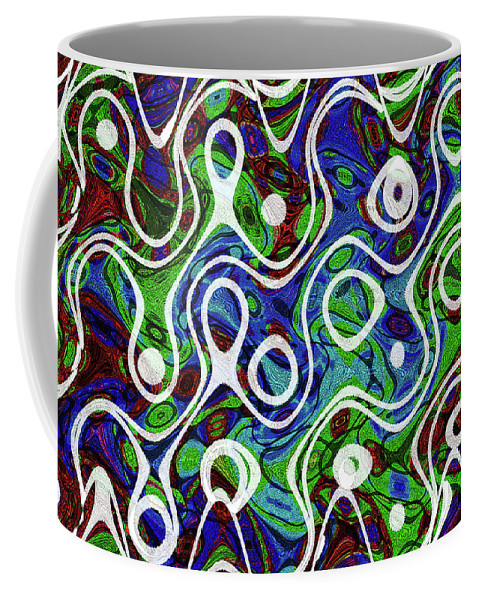 Black And White Lines Overlay Abstract Coffee Mug featuring the digital art Black And White Lines Overlay Abstract by Tom Janca