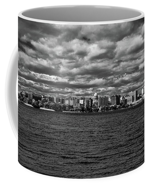 Madison Coffee Mug featuring the photograph Black And White Mad Town by Rockland Filmworks