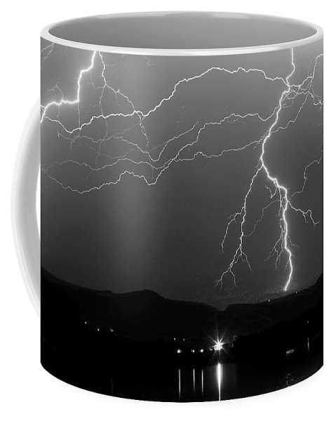 Lightning Coffee Mug featuring the photograph Black And White Massive Lightning Strikes by James BO Insogna