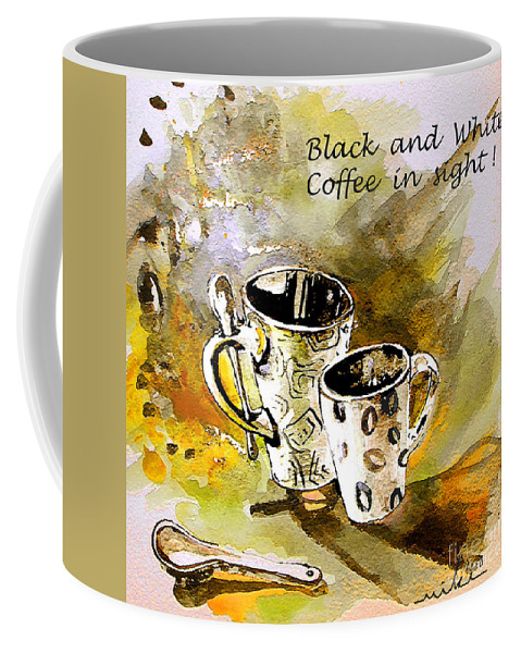 Cafe Crem Coffee Mug featuring the painting Black And White by Miki De Goodaboom