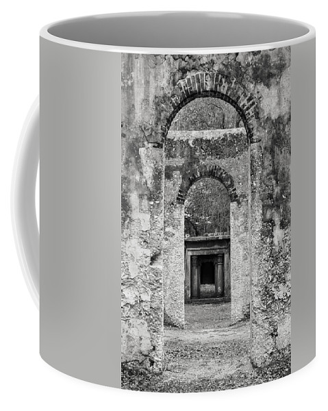 South Carolina Coffee Mug featuring the photograph Black And White Photograph Beaufort Historic Church - Chapel Of The Ease by Bill Swindaman